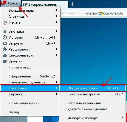 Настройки в браузер Опера