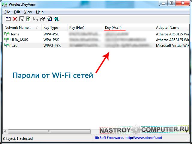 Программа Wirelesskeyview для просмотра паролей Wi-Fi